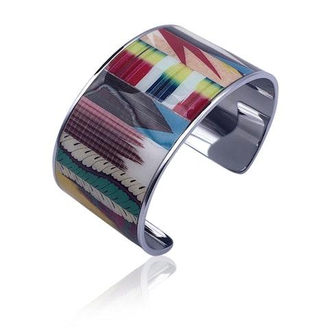 Christian Lacroix Silver Metal Ciel de Faience Bracelet Cuff Mint