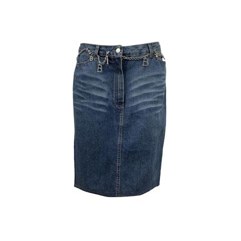 Blumarine Blue Denim Jeans Pencil Skirt with Chain Belt Size 46