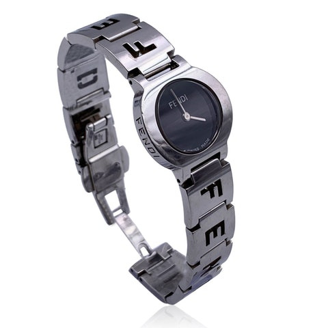Fendi Stainless Steel 3050 L Ladies Quartz Wrist Watch Black Dial