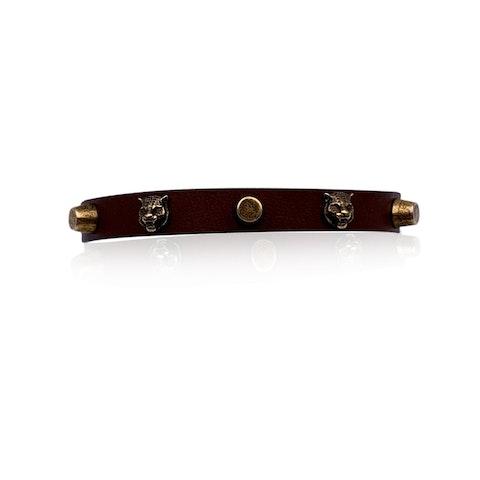 Gucci Brown Leather Studded Bracelet Size L Never Worn