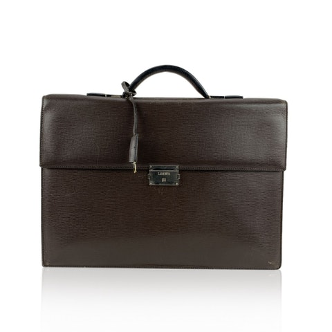 Textured Leather Briefcase Work Bag