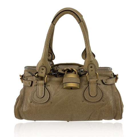 Tan Beige Leather Paddington Bag Tote