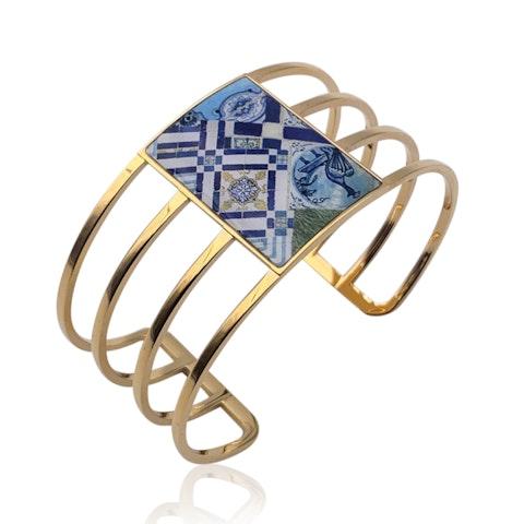 Christian Lacroix Gold Metal Ciel de Faience Bracelet Cuff Mint