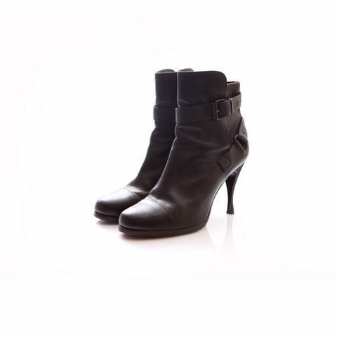 Black Leather AnkleBoots Size 40