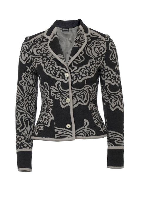 Wolford, grey woollen blazer with cashmere in flower print in size S.