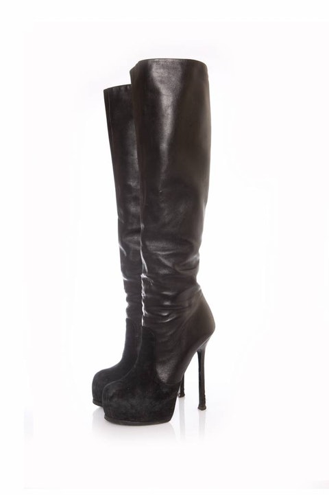 Black Leather Over Knee Boots size 38.5