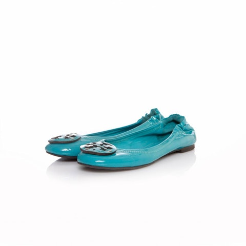 Tory Burch, Turquoise patent leather ballerina