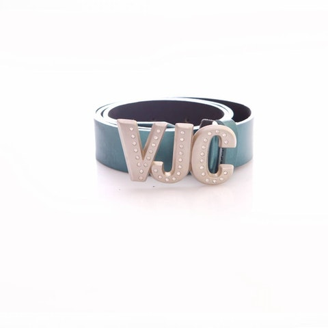 Versace Jeans Couture, turquoise leather metallic waist belt in size 70/85.