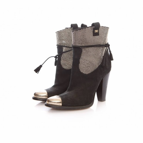 Elisabetta Franchi, black suede boots with stones and silver toe in size 36.
