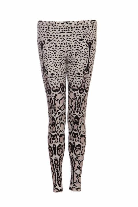 Azzedine Alaia, black/white/neutral coloured leopard legging in size 38FR/S.