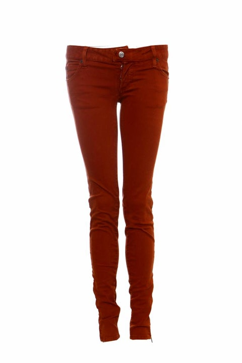 Dsquared2, orange/red biker jeans with silver hardware in size IT40/S.