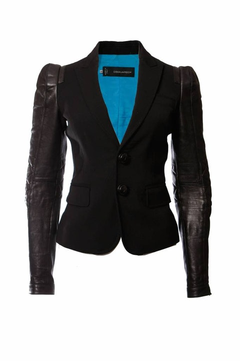 Dsquared2, black colbert jacket with leather sleeves.