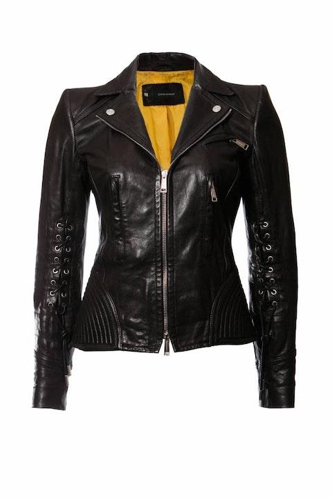 Dsquared2, black leather biker jacket.
