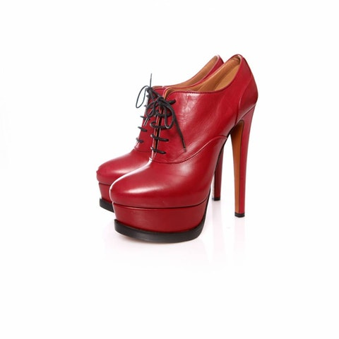 Alaia, Cherry red leather lace up platform pumps.