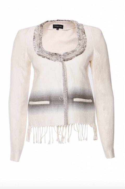 Patrizia Pepe, Cream coloured jacket with fringe and chain.
