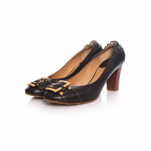 Black Pebbled Leather Pumps Size 38