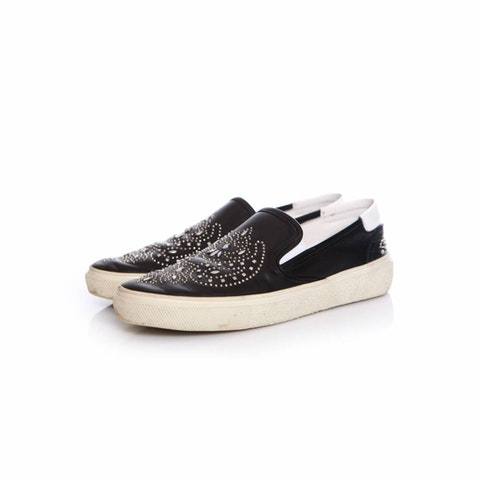 Black Leather Slip On Sneakers With Studs.