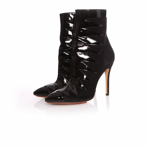 Sophia Webster, black suede/patent leather boots in size 39.