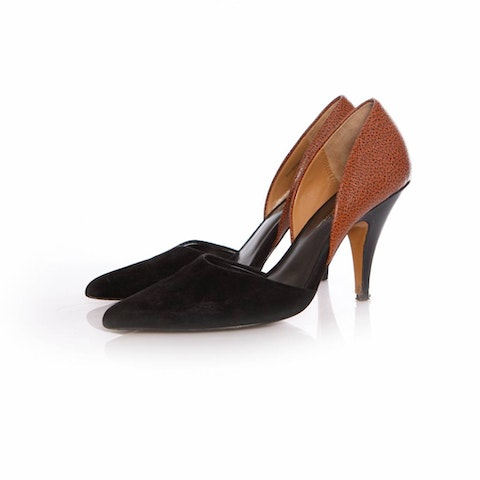 Phillip Lim, black/cognac colored pump in leather/suede in size 39.