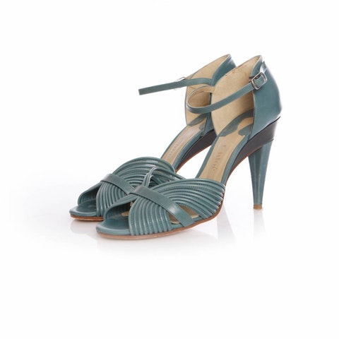 Green Leather Sandals size 39