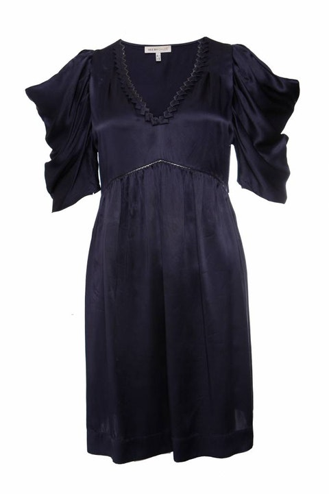 Blue silk dress with short open fluttered sleeves  size 42/S