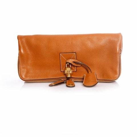 Brown Leather Skull Padlock Fold-Over Clutch Bag