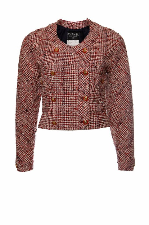 Red coloured boucle jacket