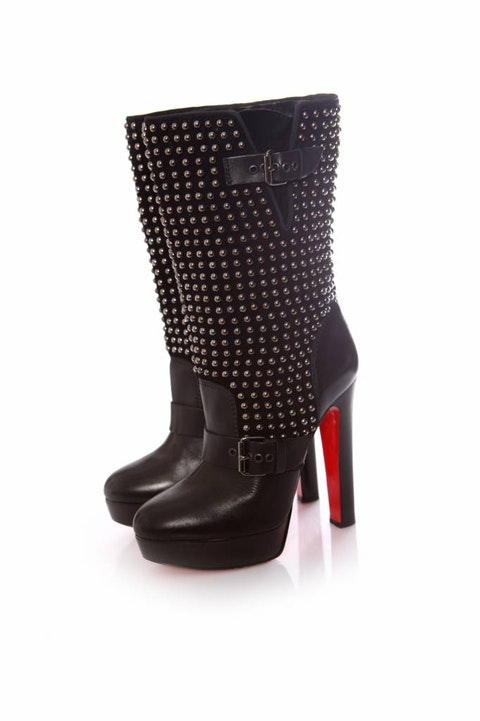 Black Leather Platform Boots size 40