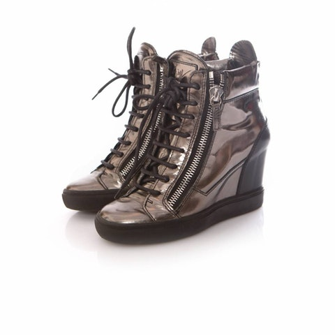 Brown Leather High Shine Sneakers size 36