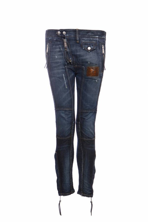 Dsquared2, blue patchwork biker jeans with silver hardware in size IT38/XS.