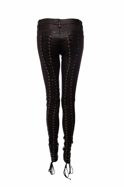 Plein Sud, leather trousers with laces (stretch) in size IT44/M.