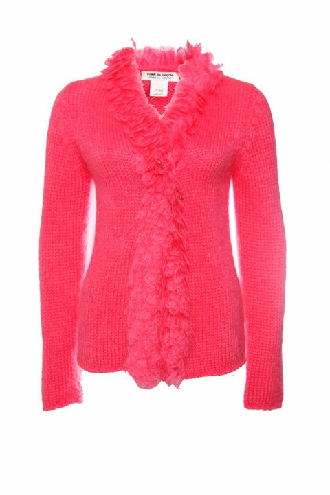 Comme des garçons, Mohair vest with safety pin in fluorescent pink in size S.