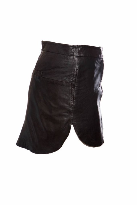 Maison Martin Margiela, black leather skirt.