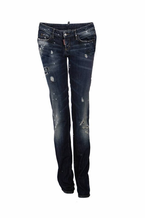 DSquared2, dark blue ripped jeans with white paint spots in size 40IT/XS.