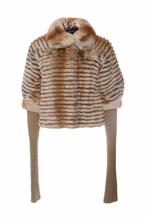 Roberto Cavalli Class, beige fur coat with super long removable wool sleeves in size IT40/XS.
