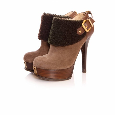 Brown Suede Ankle Shoots Size36