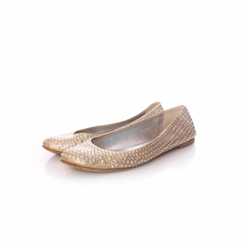 Gold Leather Ballerinas Flats Size 39.5