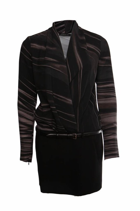 Barbara Bui, Black striped dress with leather belt in size 38/S.