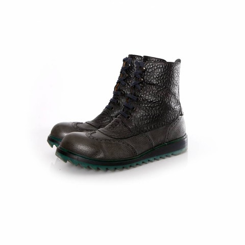 Black Leather Broque Lace-Up Boots size 43