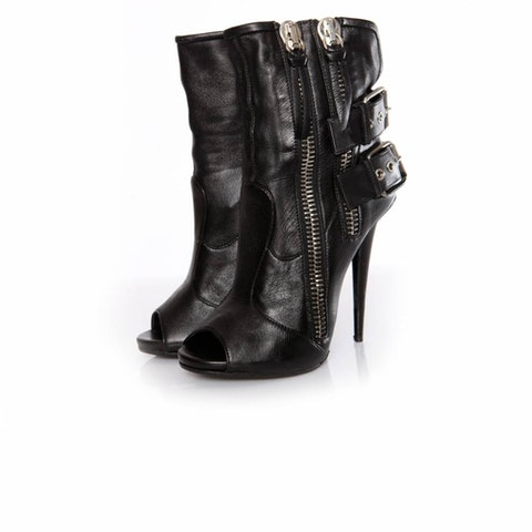Black Leather Peep-Toe Ankle Boots size 38.5