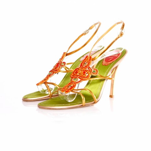 Rene Caovilla, Jeweled sandals with orange/red/green stones and gold leather straps in size 39.5.