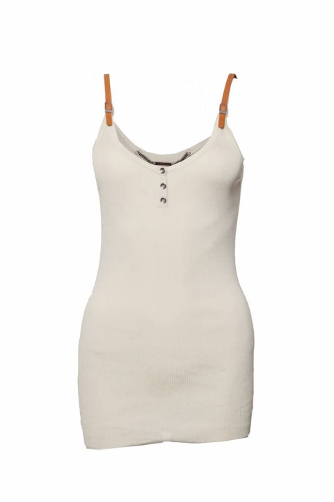 Barbara Bui, beige silk tank top with brown leather straps in size S.