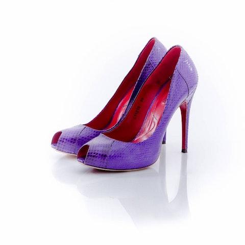 Cesare Paciotti, Purple watersnake peep-toe pumps.