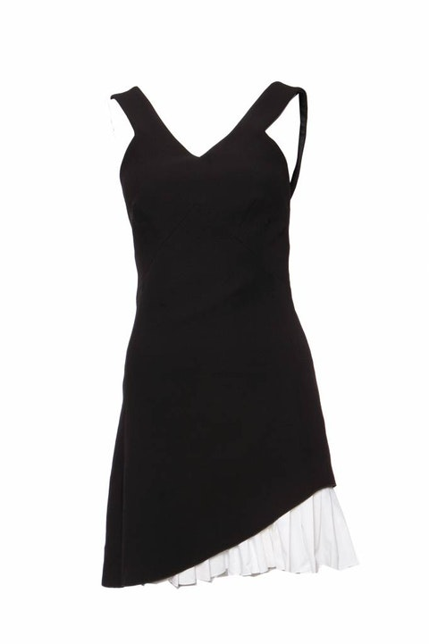 Victoria Beckham, Black college dress with white strokes in size UK10/M.