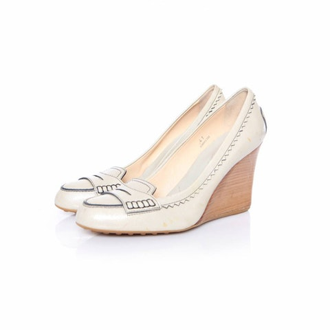 Grey Leather Pearl Sandal size 41