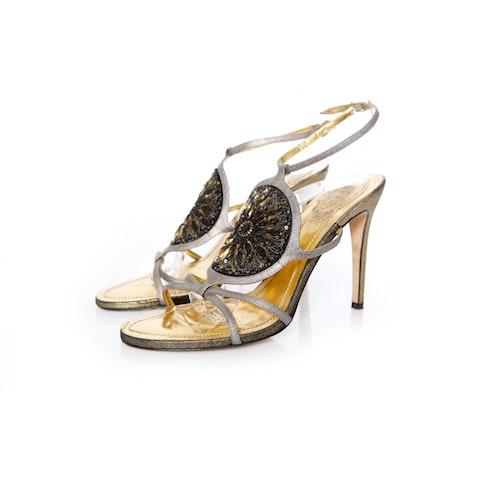 Rene Caovilla, Sequined sandals in size 40.