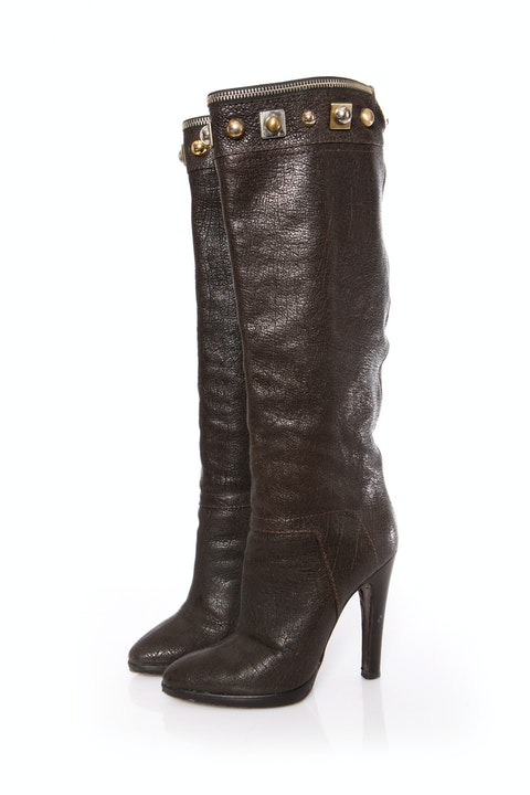 Brown Leather Boots SIZE: 38
