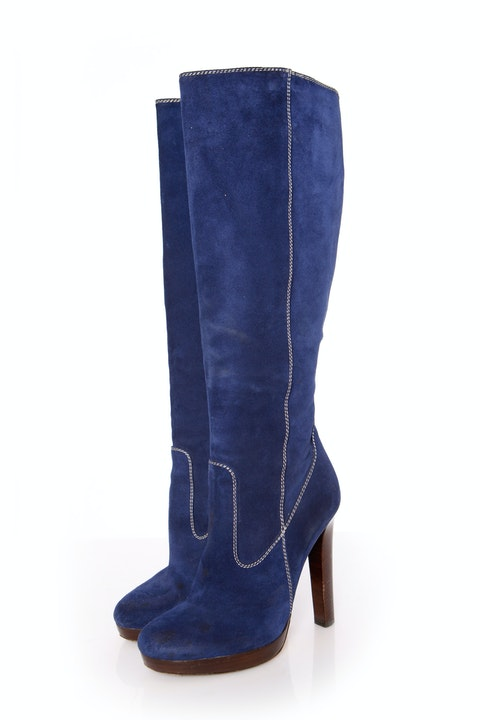 Dsquared2, Blue suede boot with wood lacquered platform in size 39.
