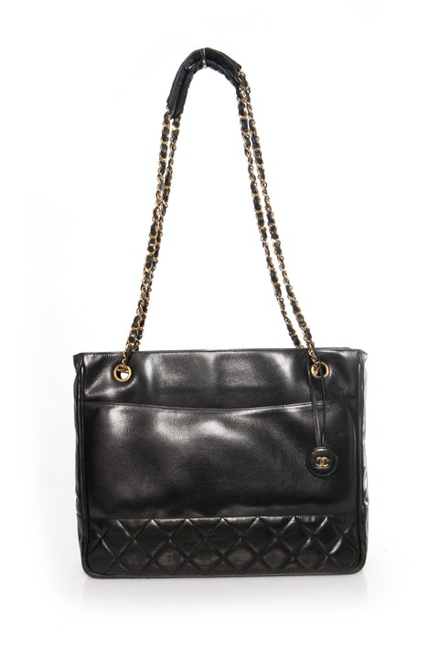 Vintage black quilted calf leather shopper