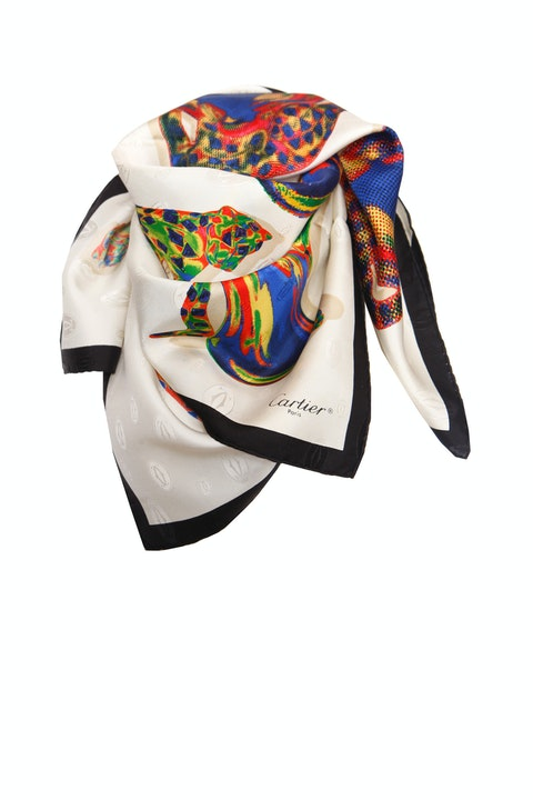 Multicolor Silk Panther Pattern Scarf
